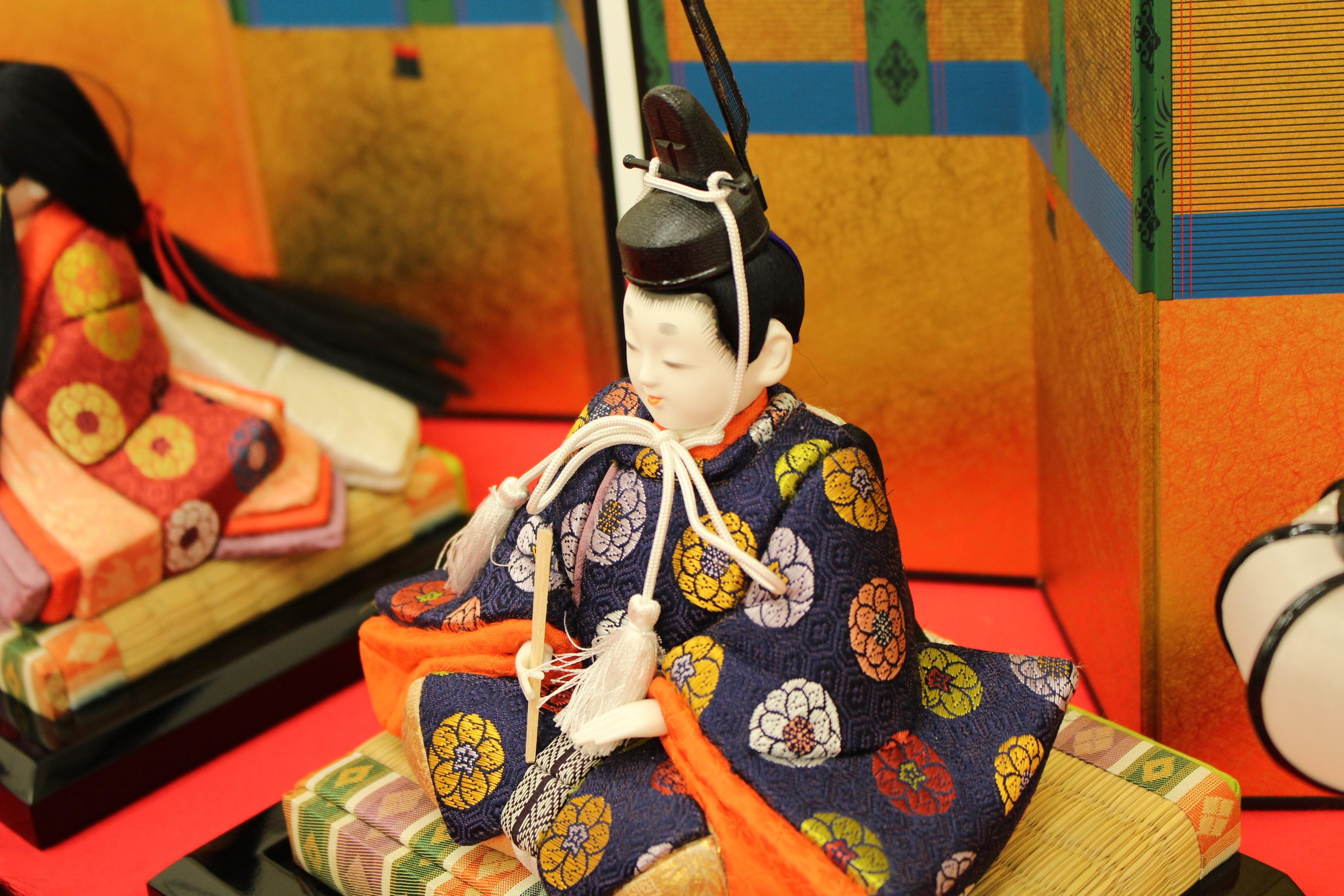 京人形・福田人形|優美木目込親王、三人官女飾り